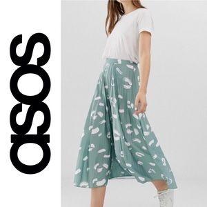 ASOS Mint Green Brush Stroke Pleated Midi Skirt